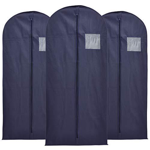 Lot de 3 housses à vêtements Léger, robuste et respirant 137 x 61 cm Bleu marine