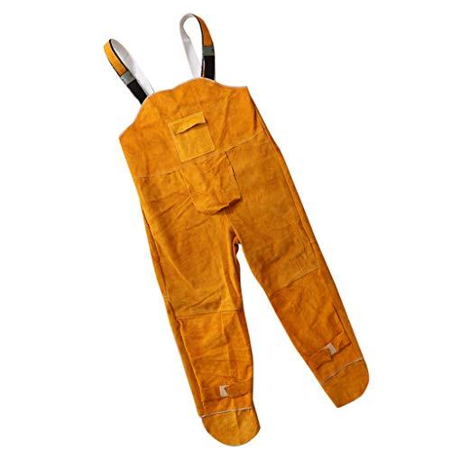 gazechimp flammhemmende Schweißerschutz Hose Arbeitskleidung Schutzkleidung feuerfest Schweißschürze aus Rindsleder, Größe - L