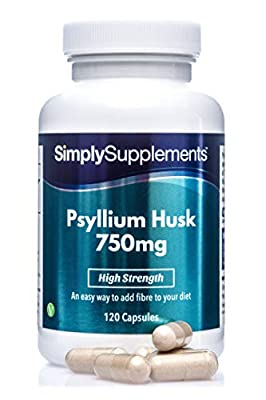 Psyllium Husk Capsules 750mg | 120 Capsules = Up to 2 Month Supply | Vegan & Vegetarian Friendly | High Quality Source of Fibre to Control Cholesterol | Manufactured in The UK