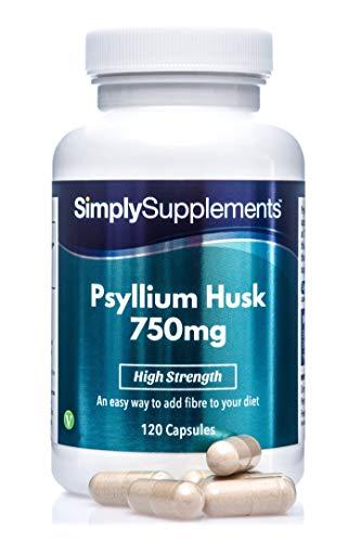 Enveloppe de Psyllium 750mg   120 Gélules   Adapté aux Végétaliens   Jusqu'à 2 mois de bienfaits  SimplySupplements