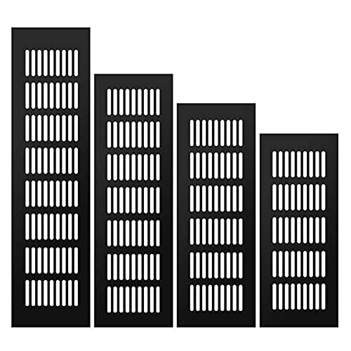 YDONGIIU Gabinete De Aleación De Aluminio Ventilación De Aire, Decoración Negra Cubierta Agujero Enchufe Rejilla De Ventilación para Armarios Barriles Accesorios De Hardware De Cubo L 150-500mm 1pcs