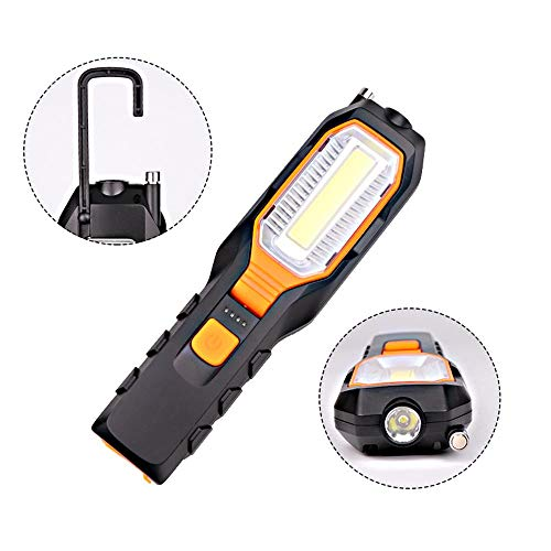 LED Flashlight 30W LED Work Light USB Rechargeable 4 Modes with Flexible Magnetic Antenna and Base Flashlights 90°Rotate Waterproof Best Lights for Working Car Repairing and Job Site
