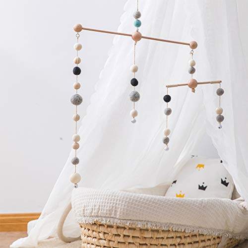 Baby Crib Mobiles Nursery Mobiles Nursery Room Rainbow Felt Balls Balanced Bed Bell Without Arm, 2 Light