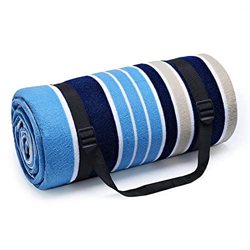 HUTHIM Picknickdecke 200x200 cm, Picknickdecke Wasserdicht Outdoor Wärm Isoliert Wasserdichtem Boden, Faltbar Picknickdecke Waschbar mit Tasche und Schultergurt (Blaue-und-weiße-Streifen)