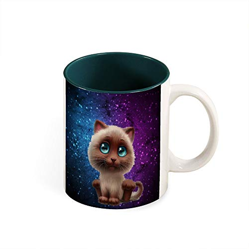Taza de color en el interior de dibujos animados de gato con ojos grandes, el mejor regalo de cumpleaños, cerámica, Ejército Verde1, talla única