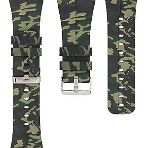 kwmobile Pulsera Compatible con Polar M400 / M430 - Brazalete de Silicona Camouflage en Negro/Verde Claro/Verde Oscuro