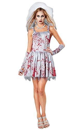 ShallGood Damen Rotkäppchen Halloween Weihnachten Performance Kleid Hoodie Schal Kostüm Pirat Hexe Cosplay Dress Kleid Passt Set Zombie Ghost Kleid Dress Gespenst Braut One Size (De 34-40)