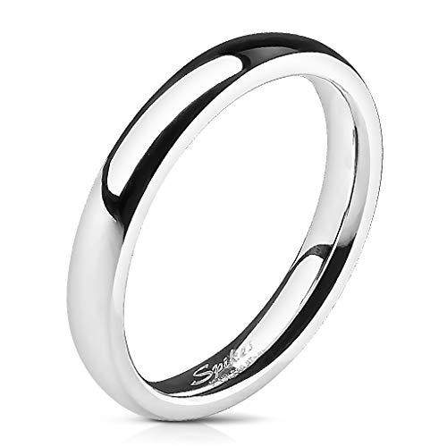 Tapsi´s Coolbodyart® Unisex Edelstahl Ring 3mm breit Silber Klassischer Ehering Hochglanz poliert 46 (14,4)