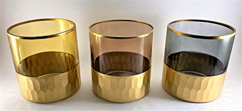 4'x4' Set of 3 Hand-Crafted Votive Glass Candle Holders (Colored Glass with Honeycomb Golden Base)
