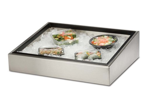 "BSI CP-120 Brushed Stainless Steel Counter Top Marche-Style Merchandiser Cold Pan, 36"" Length x 24"" Width x 8"" Height"