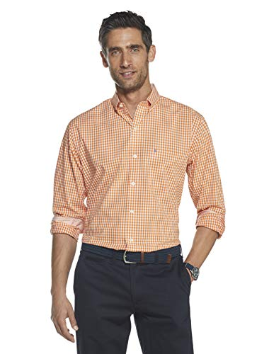 IZOD Men's Slim Fit Button Down Long Sleeve Stretch Performance Gingham Shirt, Exuberance, Large