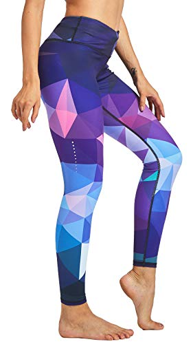 COOLOMG Damen Tights Yoga Hosen Kompression Leggings Sport Trainingshose Lang Diamond Forest L