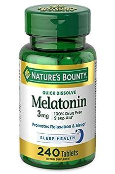 Nature s Bounty Melatonin by 100% Drug Free Sleep Aid Dietary Supplement 3mg - 3 mg 240 Count