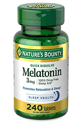 Melatonin by Nature's Bounty, 100% Drug Free Sleep Aid, Dietary Supplement, Promotes Relaxation and Sleep Health, 3mg, 240 Quick Dissolve Tablets