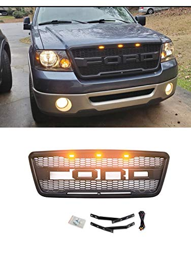 VZ4X4 for Front Grill for Fd F-150 2004-2008, Raptor Style Grille, Matte Black-We May Ship Two Packages to You for Grille and Letter.