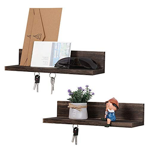 LIANTRAL Magnetic Key Holder for Wall, Set of 2 Wood Shelf Organizer for Mail, Phone, Wallet, Sunglasses(Brown)