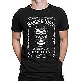 Salon de Coiffure Tshirt Barber Shop t Shirt Skull crâne Tshirt, Homme T-Shirt Manches Courtes Graphic Tshirt, Noir