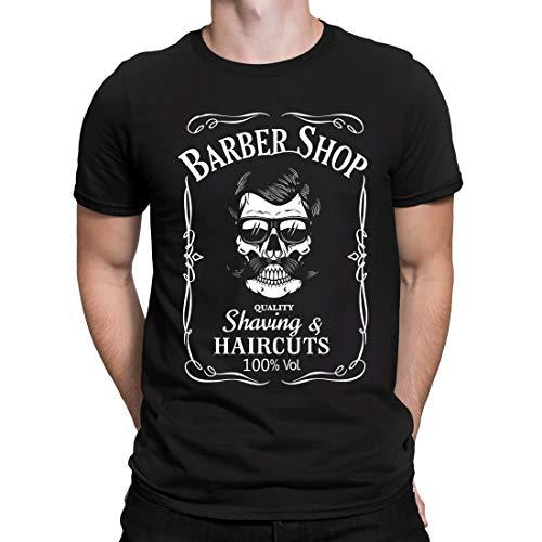 Barber Shop Tshirt Skull Barber Shop t Shirt Camiseta de peluquería Cráneo, Camiseta para Hombre Manga Corta Hombre Camisetas Cuello Redondo Moda Camisetas, Negro