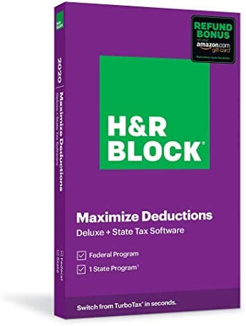 H R Block Tax Software Deluxe State 2020 with Refund Bonus Amazon Exclusive Physical Code by product image