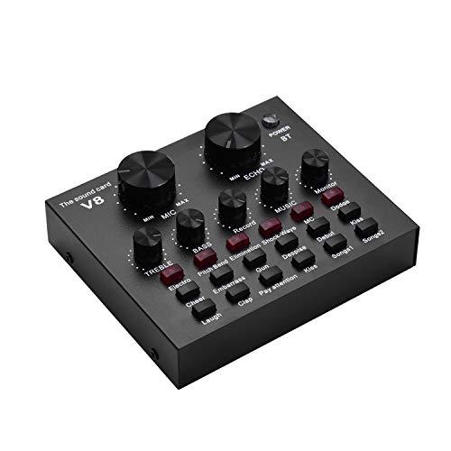 Andoer Placa de som de mixagem de áudio externa Interface de áudio USB Conexão BT com vários efeitos sonoros Bateria recarregável integrada para cantar, gritar, transmitir ao vivo, conversar, gravar