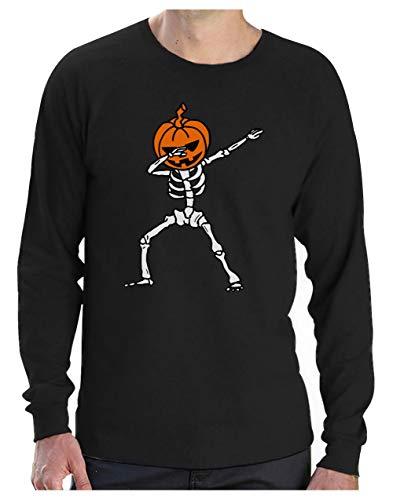 Camiseta de Manga Larga para Hombre - Esqueleto con Cabeza de Calabaza - Divertido para Usar en Halloween X-Large Negro