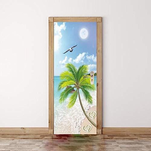 Landscape muursticker met 3D-print, waterdicht, van PVC, voor de deur, creatieve sticker, voor de muur, deur, om zelf te maken, muur, slaapkamer, thuisdecoratie, 77 x 200 cm