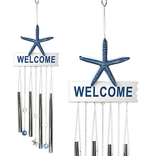 """BANBERRY DESIGNS Starfish Wind Chime Welcome Sign - 26"""" Indoor Outdoor Ocean Theme Wind Chimes– Mobile Musical Garden Chimes for Home Decoration – Nautical Driftwood Like Design - Beach Decor"""