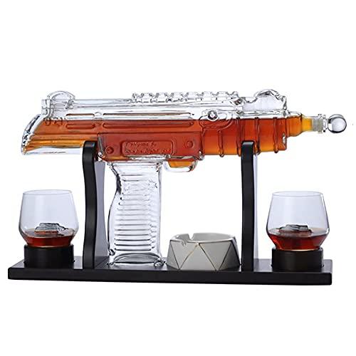 ASYCAN Juego de Jarra de Whisky con 2 Vasos de Whisky, Dispensador de Whisky para Licor de Whisky Escocés, Accesorio para Beber (Color : A)