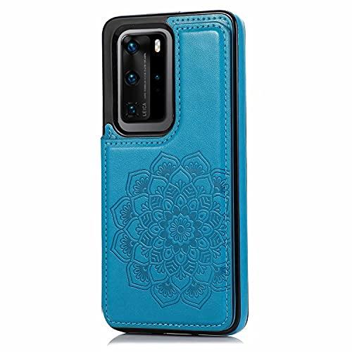 Lijc Compatible con Funda Huawei P40 Botón Doble Mandala En Relieve PU Cuero Tarjeta Bolsillos [Ranura para Tarjetas] [Soporte Plegable] Antigolpes Flip Caso-Azul
