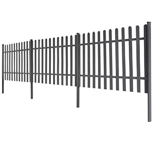 FZYHFA Lot de 3 clôtures en WPC avec poteaux de 6 m de long et 120 cm de haut, gris. Design simple et beau, robuste et résistant.
