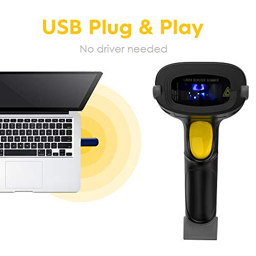 NADAMOO Wireless Barcode Scanner 328 Feet Transmission Distance USB Cordless 1D Laser Automatic Barcode Reader Handhold Bar Code Scanner with USB Receiver for Store, Supermarket, Warehouse