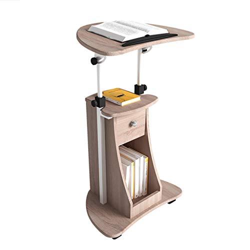 ZHEN GUO Deluxe Podium Stand Verstelbare Hoogte Houten Rolling Laptop Winkelwagen Met Opslag, Mobiel Werkstation Staande Bureau Kruk Met Wielen