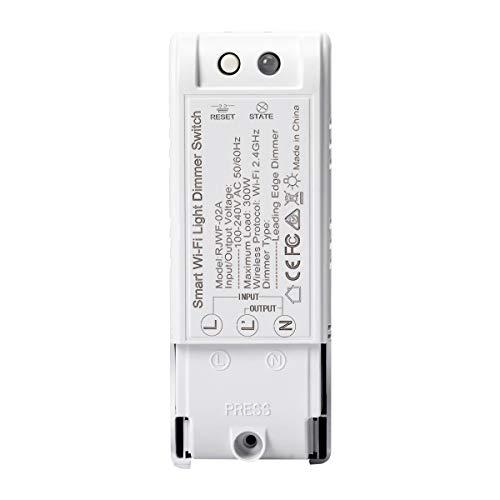 1 Pack WIFI Dimmschalter, FORNORM Smart Lichtschalter Dimmbar 2000W Kompatibel mit Amazon Echo/Alexa und Google Home, APP Fernbedienung/Timer/Countdown/Speicherfunktion, 2,4 GHz für Android iOS