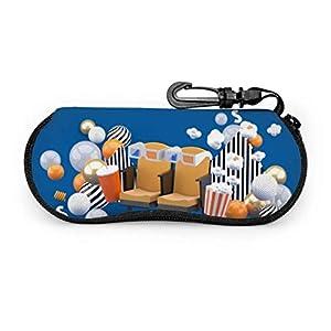 sherry-shop Brillenetui mit Karabiner-Kinostuhl Softdrinks Popcorn unter ultraleichten tragbaren Neopren-Reißverschluss-Sonnenbrillen Softcase - passend für die meisten Brillen