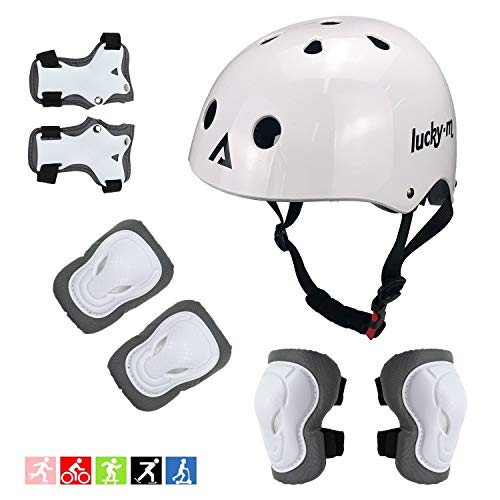 Lucky Kids Protective Gear Set Boys Girls Adjustable Size Helmet with Knee Pads Elbow Pads Wrist Guards for Skateboard Cycling Hoverboard Scooter Rollerblading (White)