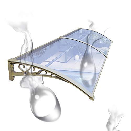 Porche Exterior Patio de policarbonato Parasol Refugio Lluvia Nieve Alero de la Cubierta Dosel (Color : Clear+Champagne, Size : 60CMX160CM)