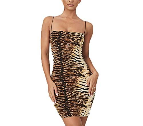 2021 Fashion Trend Women Sexy Summer Mini Dress Leopard Tiger Print Evening Party Sleeveless Stylish New Dress