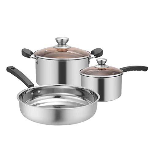 SHUISHUI 3 unids/set olla de sopa de acero inoxidable olla de sopa singnética Cocina multiusos de uso de múltiples propósitos Non Stick Pan Pan Inducción Pot