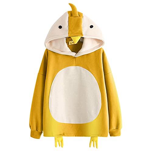 2021 Sudadera con capucha para mujer y niña, con diseño de caricatura de pollitos de animales, estilo universitario, con cordón, tiempo libre y otoño, tallas S-2XL, amarillo, S