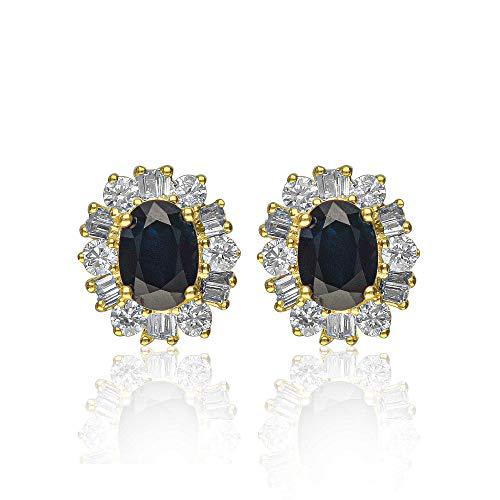 Gin & Grace 14 k oro amarillo azul genuino Shappire diamante (SI1) del perno prisionero de la Mujer
