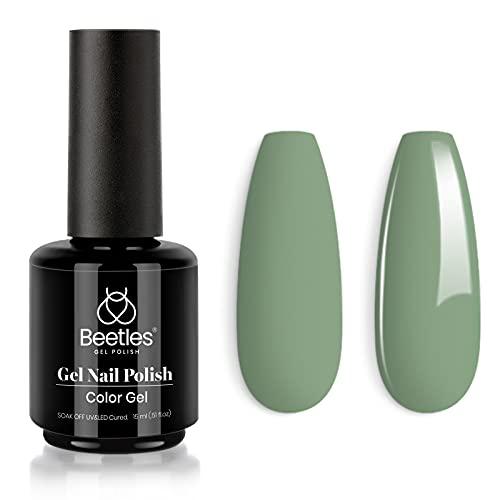 Beetles Gel Nail Polish, 1Pcs 15ML Eucalyptus Green All Season Color Soak Off Gel Polish Nail Art Manicure Salon DIY at Home