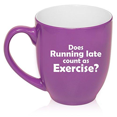 Große Bistro-Tasse, Keramik, für Kaffee, Tee, Glas, lustige Tassen, Late Count-As Exercise violett