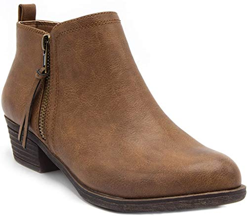 London Fog Women's Tina Ankle Bootie Brown Smoothe 9