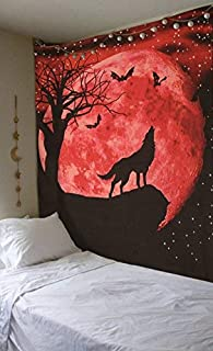SheetKart Wolf Howling to The Moon Tapestry, Wall Hanging Tapestry, Indian Cotton Printed Bohemian Hippie Small Wall Art