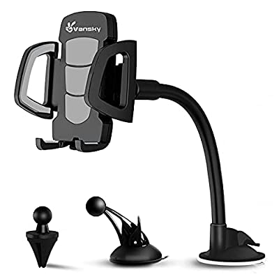 Phone Holder for Car, Vansky 3-in-1 Universal Cell Phone Holder Car Air Vent Holder Dashboard Mount Windshield Mount for iPhone 12 11 X XR 7/7 Plus, Samsung Galaxy S9 LG Sony and More by Vansky