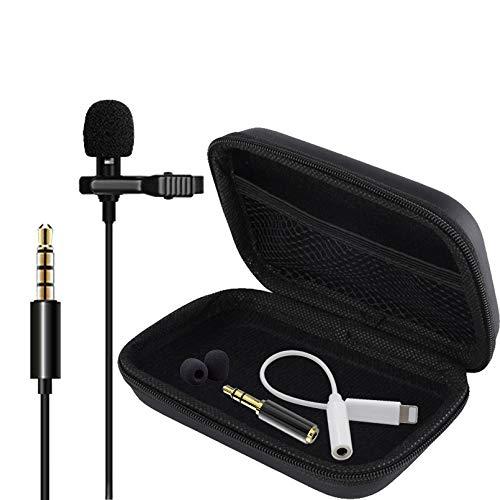 BelonLink Microfono de Solapa,3.5mm Mini Mlavalier Micrófono de Condensador con 2 Adaptadores para Grabación Entrevista/Videoconferencia/Podcast/Dicción de Voz