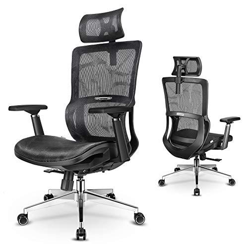 mfavour Bürostühl Ergonomischer Bürostuhl mit 3D Armlehnen, Drehstuhl Computerstuhl Chefsessel, Verstellbare Kopfstütze, Höhenverstellung, bis 150 kg/330lb (Mesh seat)
