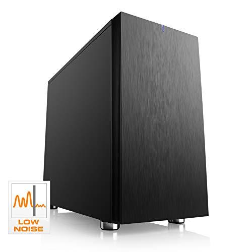 CSL Computer Cronos Silent Mini - Schallgedämmtes Low-Noise PC-Gehäuse, Micro-ATX, Mini-ITX, 2 vormontierte Lüfter, schwarz