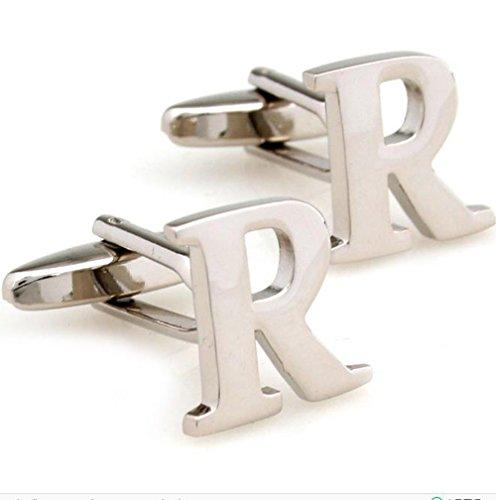 GuDeKe Bijoux Laiton Hommes de Boutons de Manchette Initiale Personalized Capital Alphabet Lettre R Boutons de Manchette