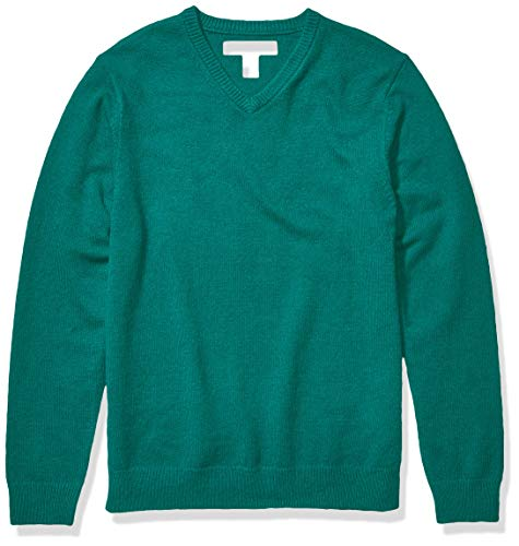 Amazon Essentials Men's Midweight V-Neck Sweater, Emerald, X-Large